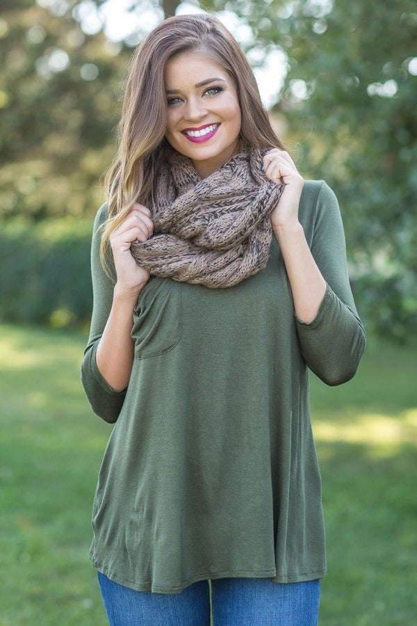 One Sweet Day Tan Black Two Tone Knitted Infinity Scarf