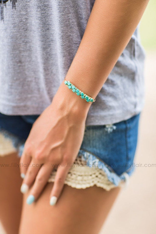 Cuffed Turquoise Stone Gold Bracelet