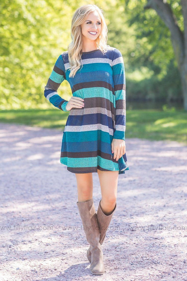 Blue Teal Grey Striped Long Sleeve Sweater Shift Mini Dress