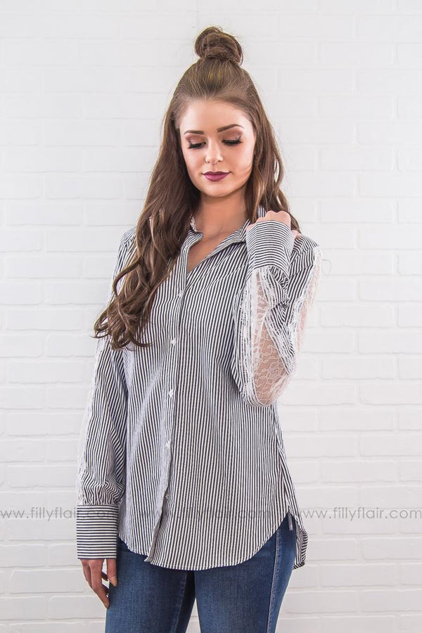 All We Need Striped Lace Button Up Top In Charcoal White