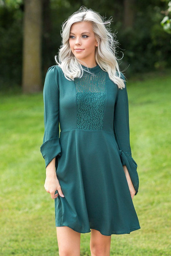 Alice Hunter Teal Green Bell Sleeve Lace Dress