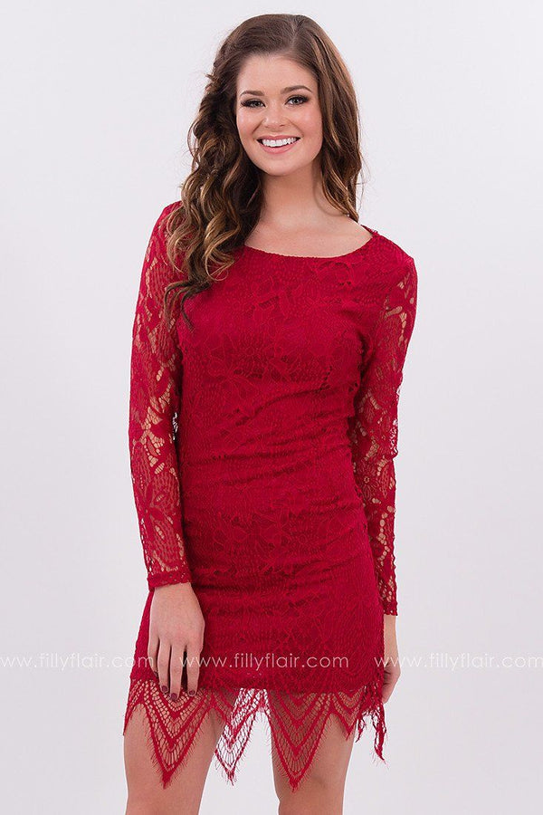 Heaven Sent Lace Dress in Red