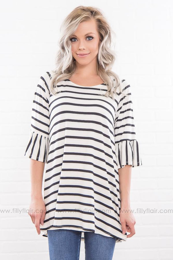 All The Stars Striped Ruffle Sleeve Top In Black White