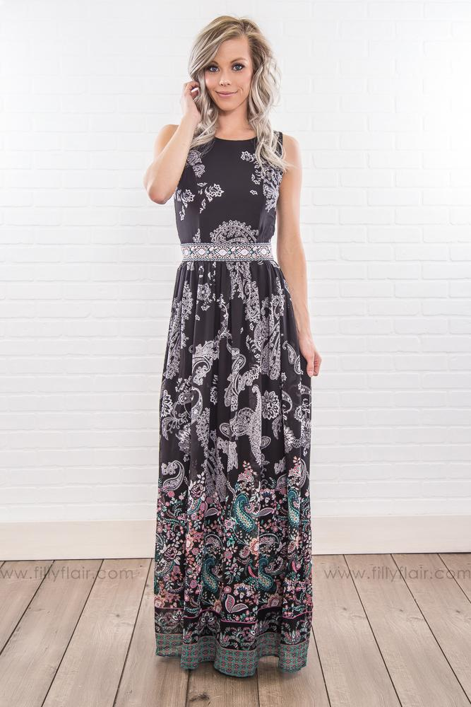 Skip Tomorrow Floral Paisley Cross Back Maxi Dress In Black