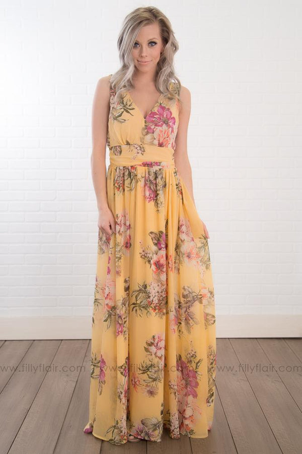 Always Be My Sunshine Floral Sleeveless Maxi Dress