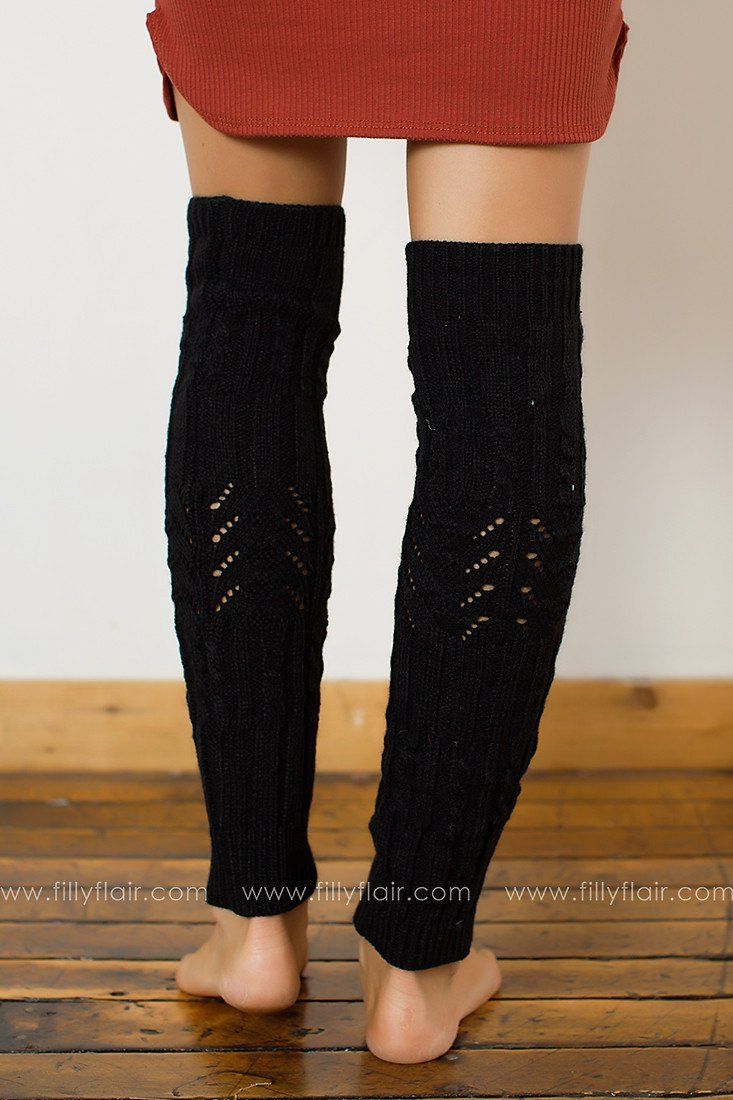 One Step Knit Leg Warmers in Black