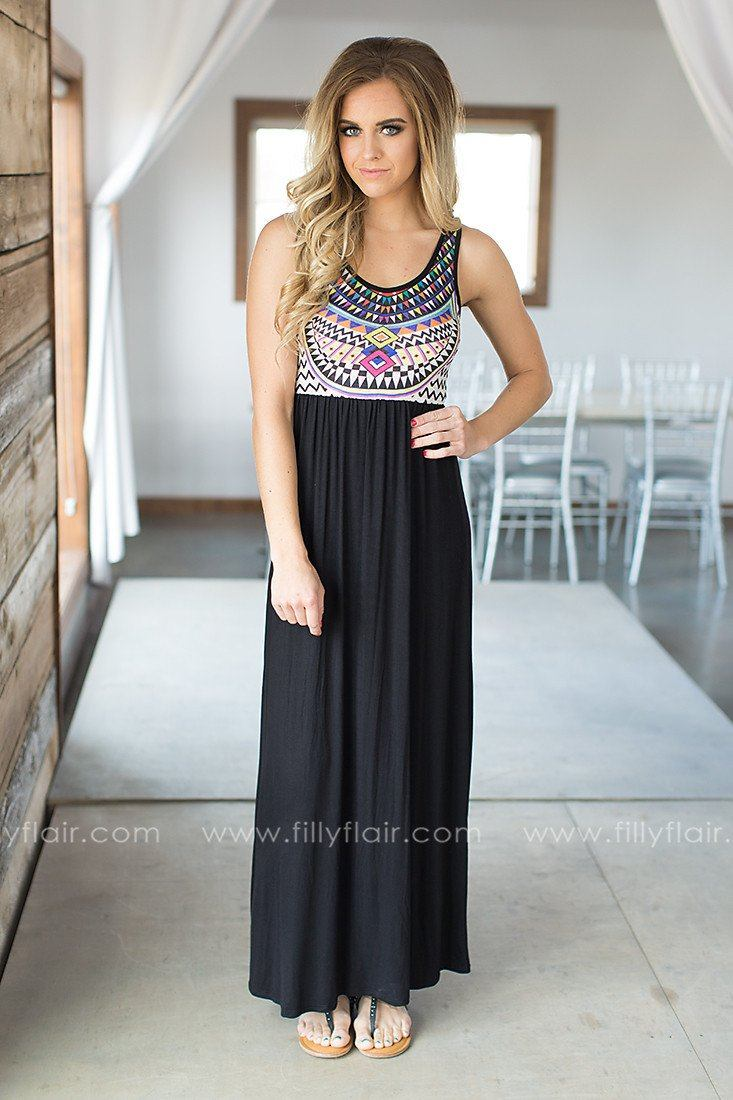 Tribal printed boutique maxi dress