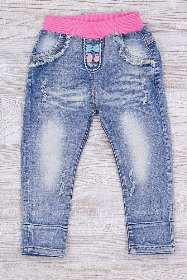 Full Heart Kid's Embroidered Jeans