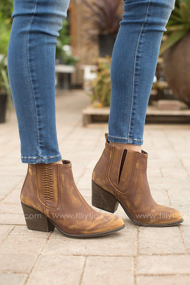 Walk this Way Leather Booties in Brown