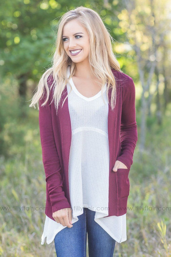 Perfectly Yours Burgundy Open Classic Cardigan