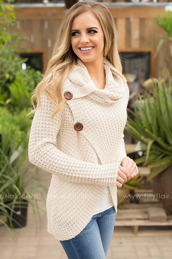 Good Afternoon Cowl Neck Sweater in Beige