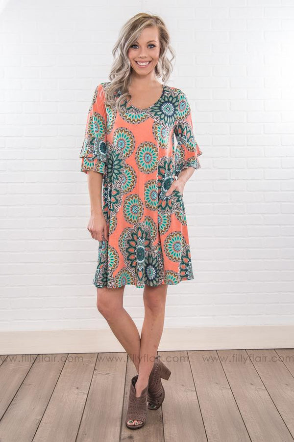 Shout It Out Printed Ruffle Sleeve Mini Dress In Coral