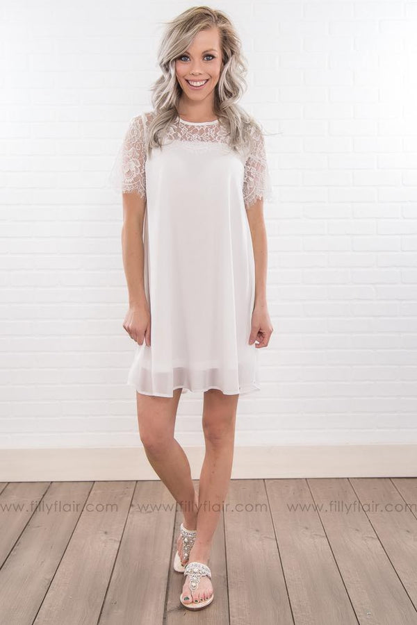 Dusk 'Til Dawn Lace Short Sleeve Dress In White