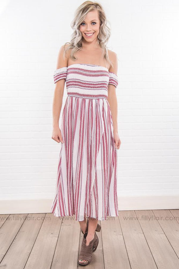 Heart Wide Open Striped Off the Shoulder Dress In Red - Filly Flair