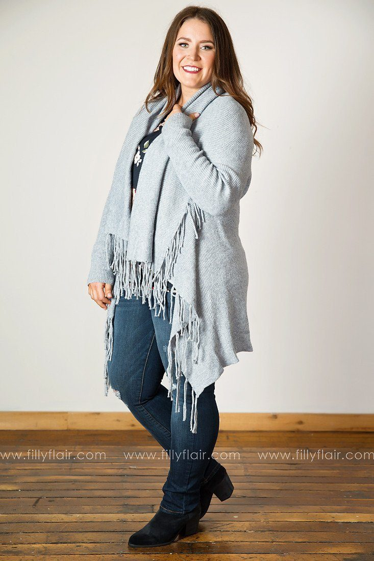Sweet and Snug Fringed Drape Front Cardigan in Grey