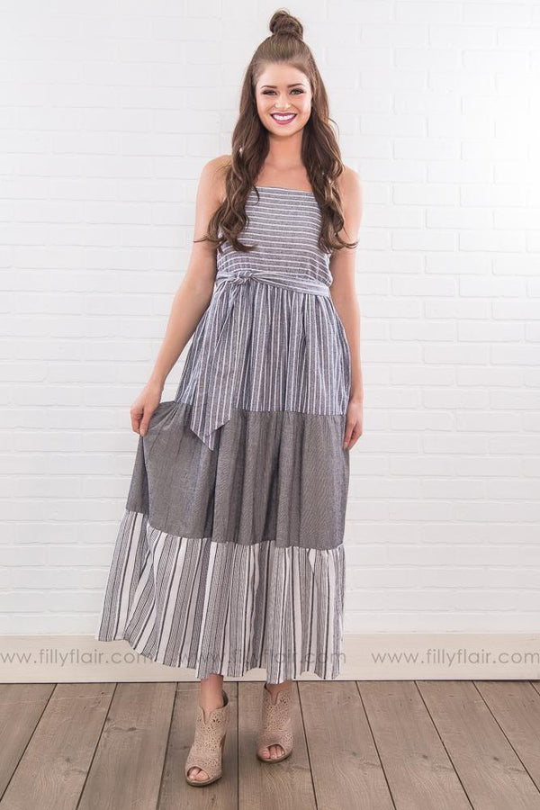 Overprotected Striped Panel Spaghetti Strap Maxi Dress