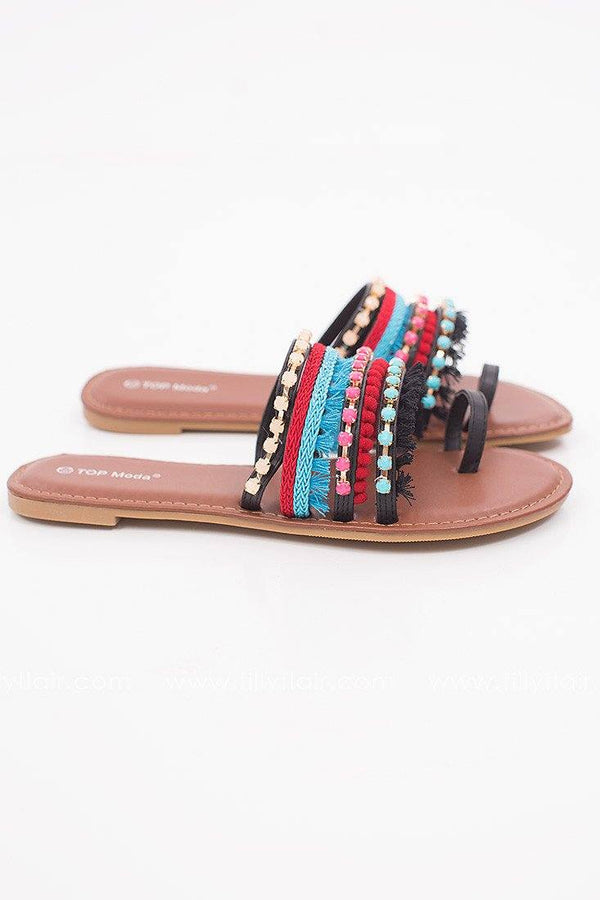 Pacific Coast Tassel Sandal in Black