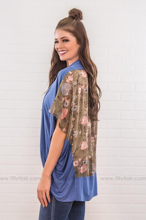 Time Flies Floral Printed Back Kimono In Blue