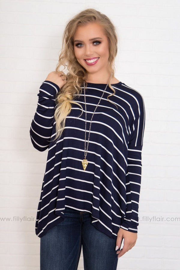 Feeling Fine Navy White Striped Top
