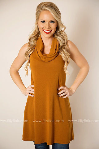 Just Once Sleeveless Cowl Neck Dress in Camel