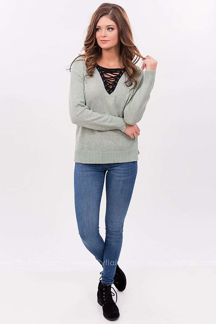 Deep Sea Lace Up Sweater in Mint