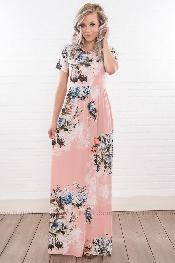 Breathe Deeply Floral Short Sleeve Maxi Dress In Light Pink