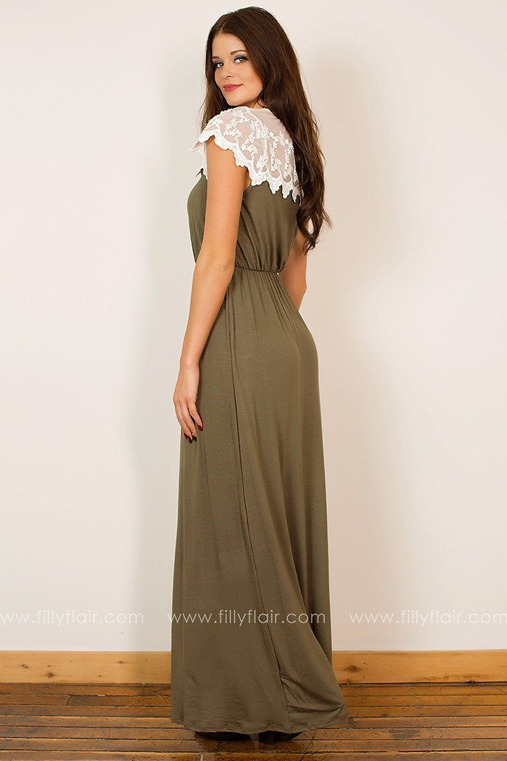 Shy Smile Maxi Dress In Olive - Exclusive