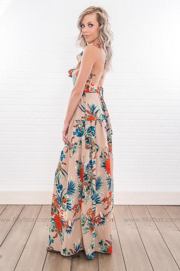 If I Knew Then Floral Plunging Maxi Dress In Tan