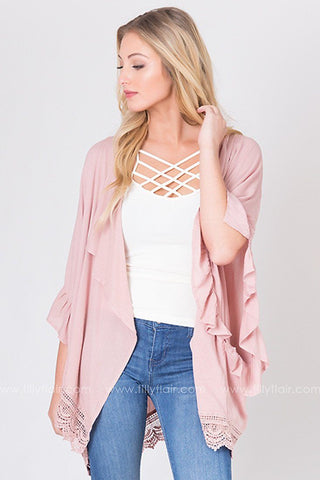 Hearts Entwined Lace Trim Kimono in Dusty Rose
