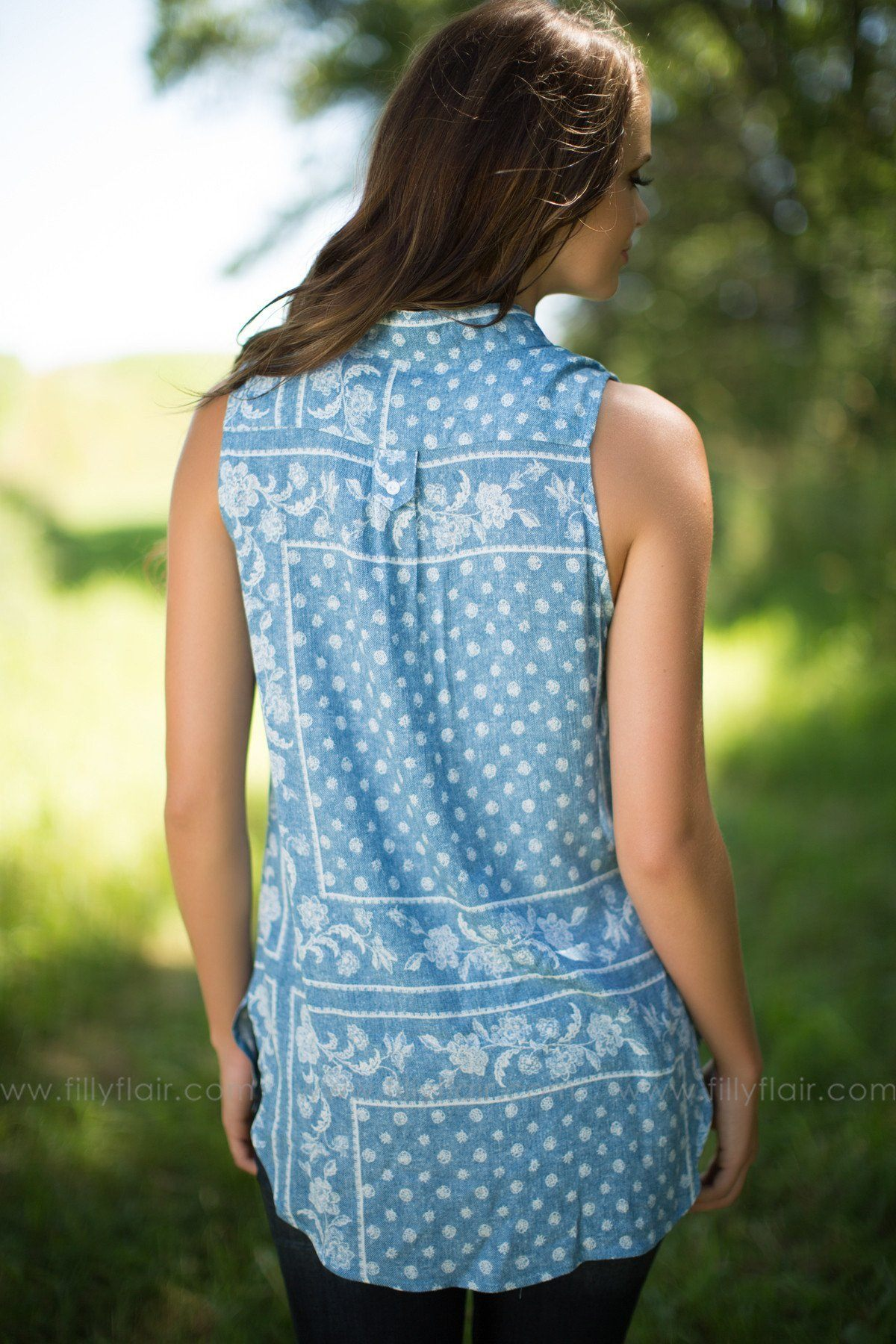Above Average Printed Top in Blue - Exclusive