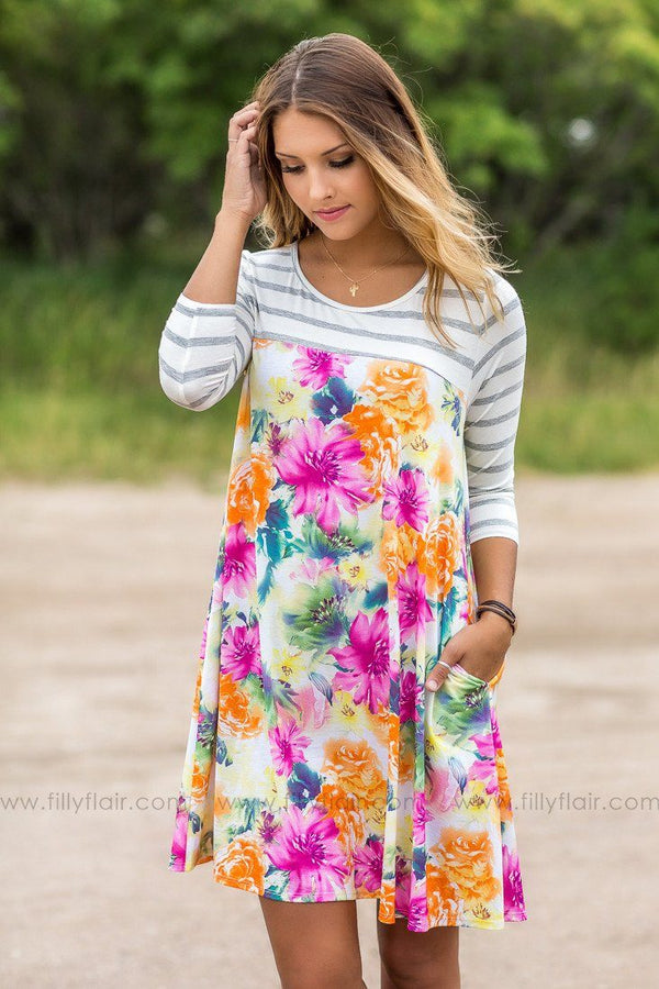 Paradise Gardens Floral and Striped Mini Dress