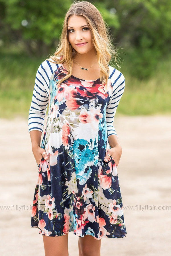 Anna Navy Floral and Striped Mini Dress