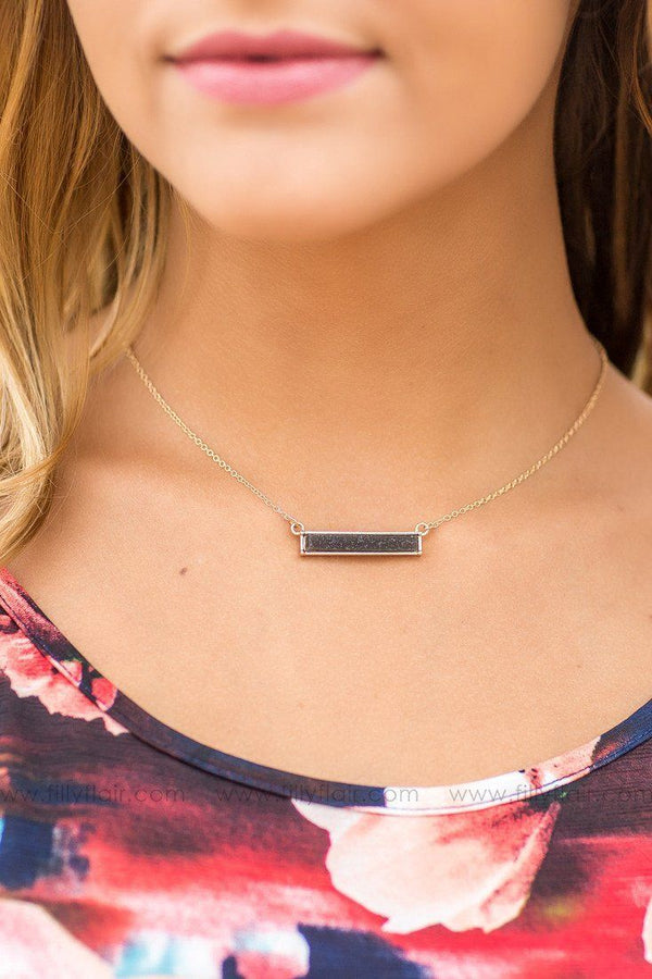 Black Horizontal Bar Necklace