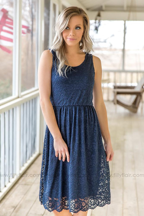 When We First Met Sleeveless Lace Dress In Navy