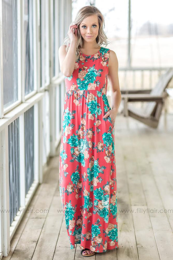 Everything Has Changed Floral Sleeveless Maxi Dress In Coral