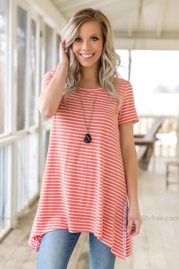 Make A Friend Short Sleeve Striped Top In Salmon
