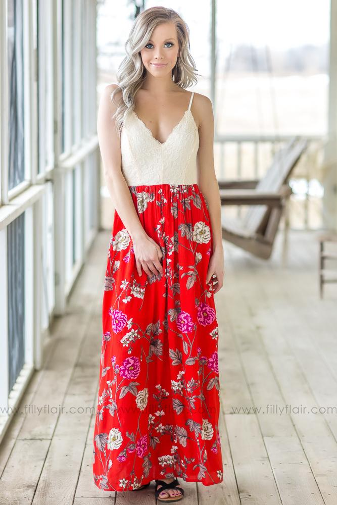 So Carelessly Spaghetti Strap Floral Lace Maxi Dress In Red - Filly Flair
