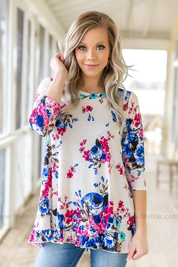 Catching Bouquets 3/4 Sleeve Floral Ruffle Top In Ivory