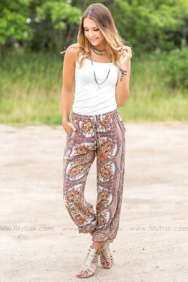 Brazil Taupe Floral Jogger Pants