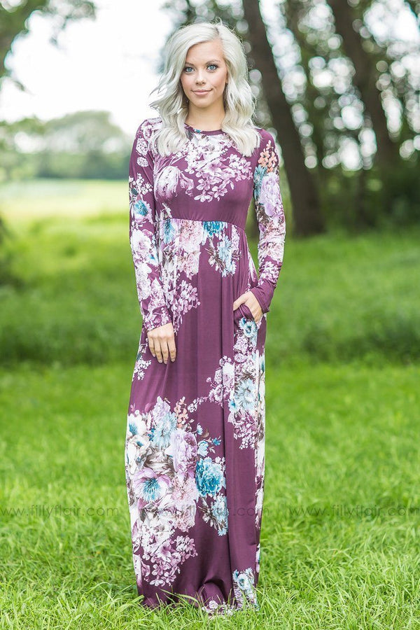burgundy floral printed dress
