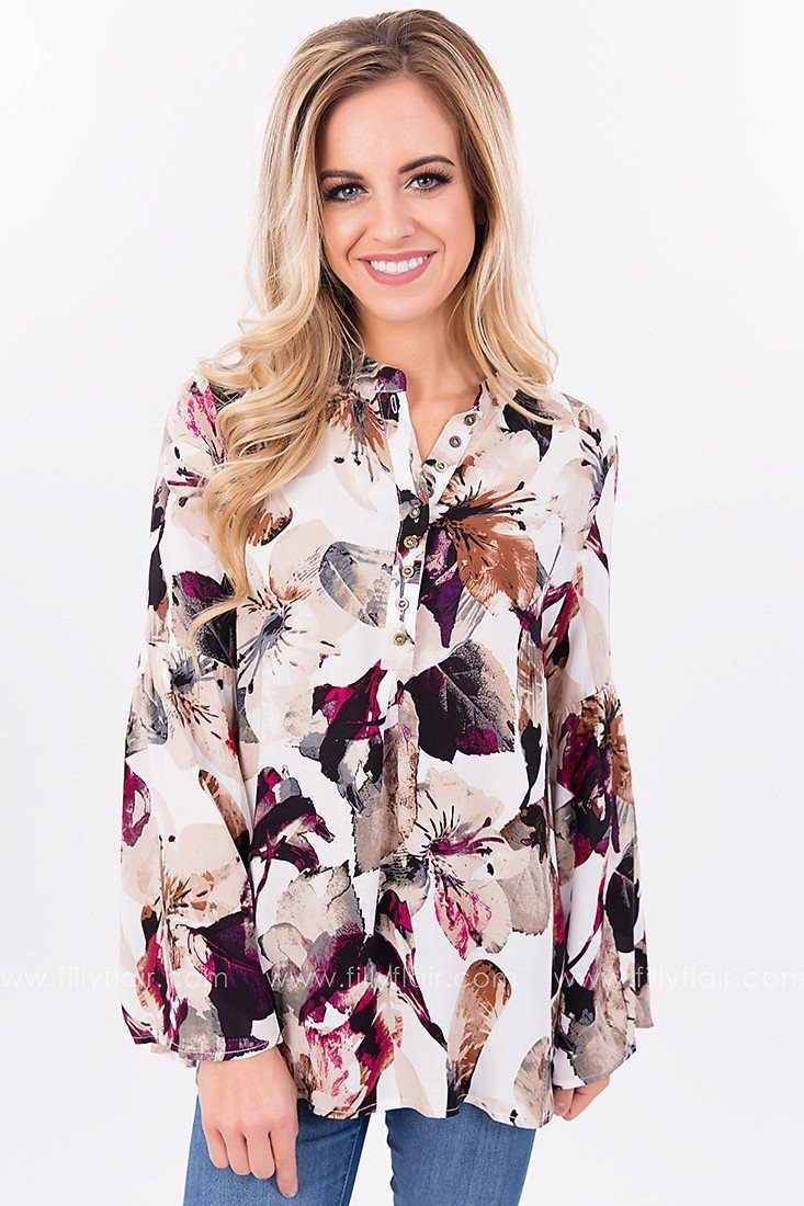Winter's Garden Floral Print Top