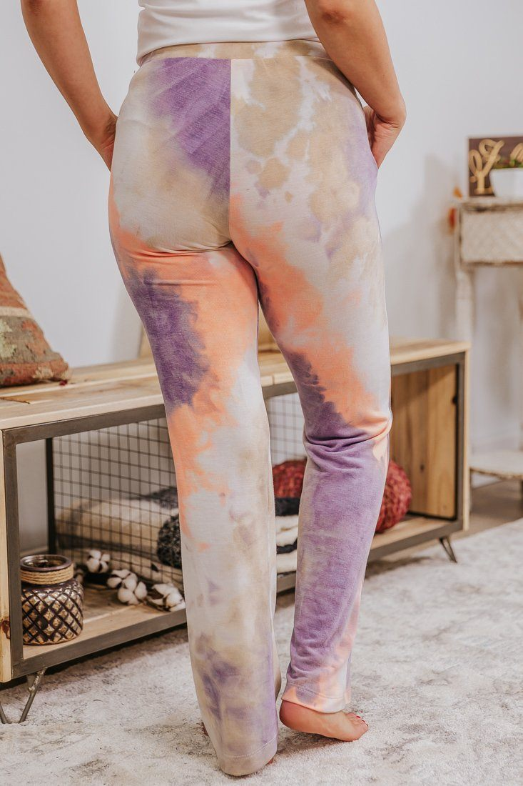 Totally Wicked Tie Dye Elastic Waist Pants in Neon Orange Lavender