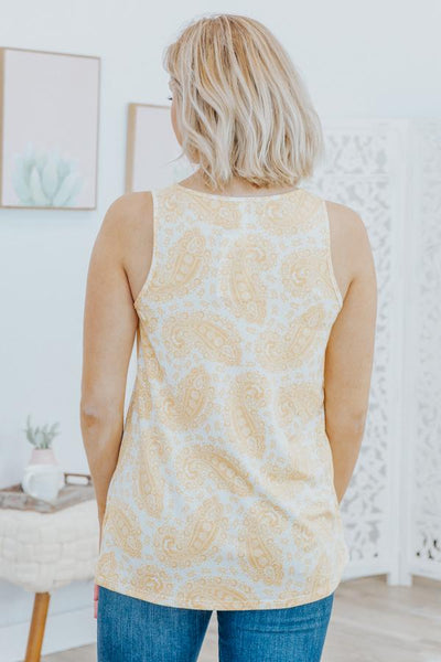 Heading To The Pool Paisley V Neck Sleeveless Tank Top in Mustard - Filly Flair