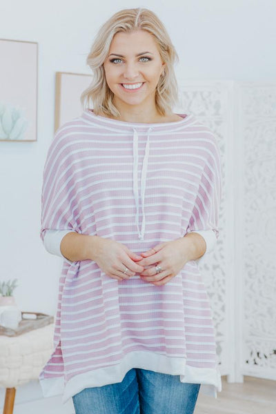 Call You Friend Stripes Waffle Boat Neck Short Sleeve Dolman Sweater in Dusty Pink - Filly Flair