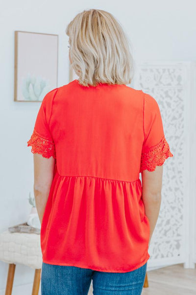 I Am Unique Lace Empire Waist Short Sleeve Top in Red - Filly Flair