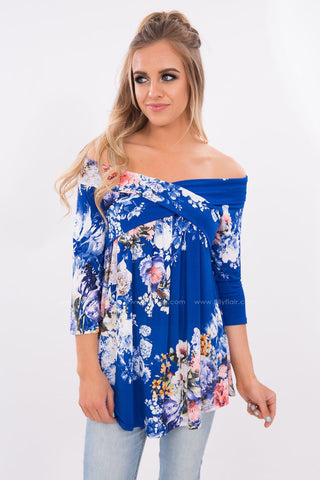 Above All Floral Off the Shoulder Top in Royal Blue
