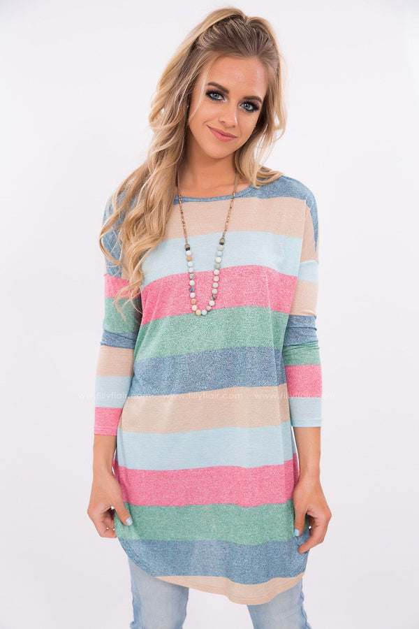 striped top in pink and mint