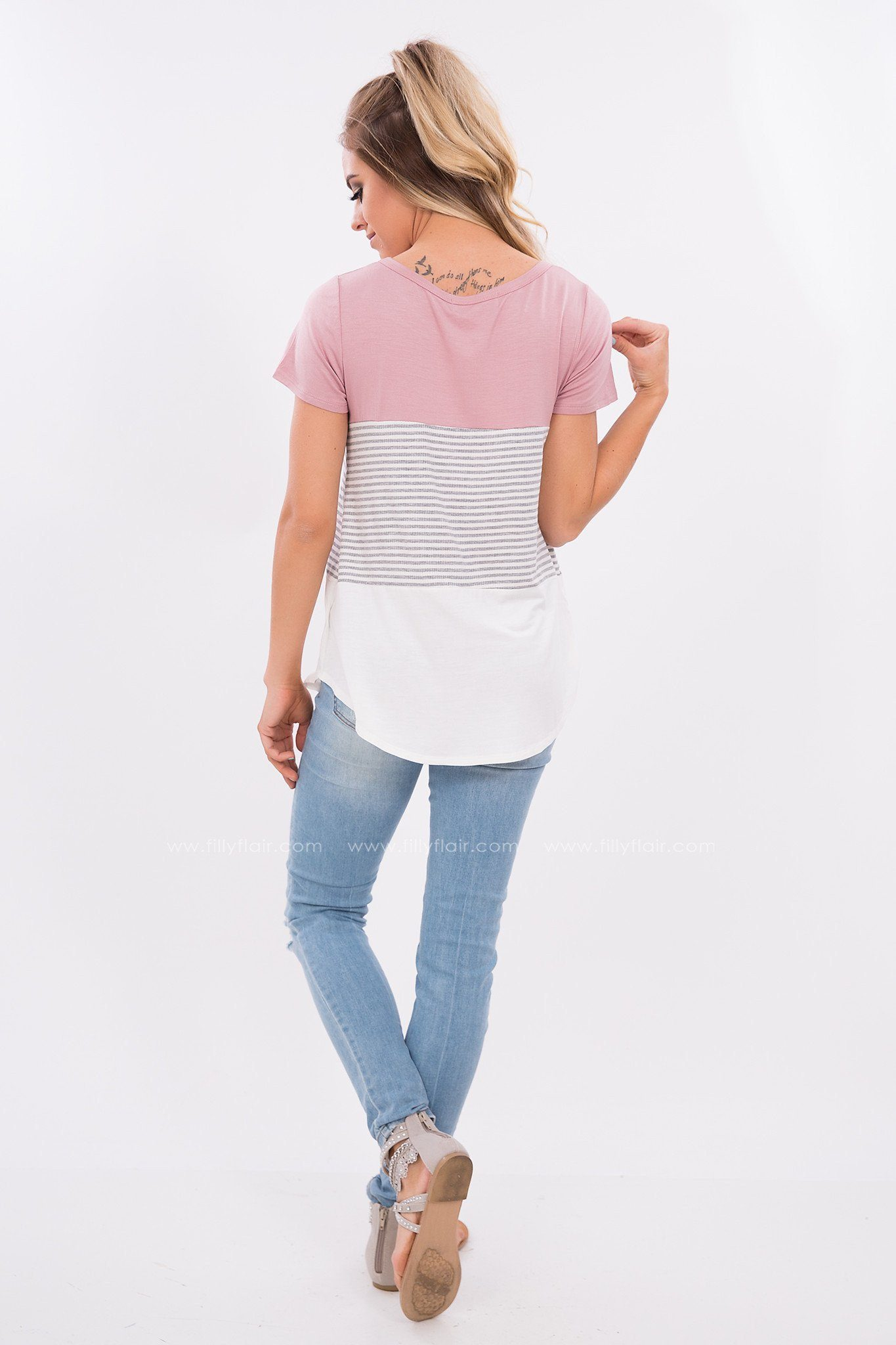 Short Sleeve Color Block Top