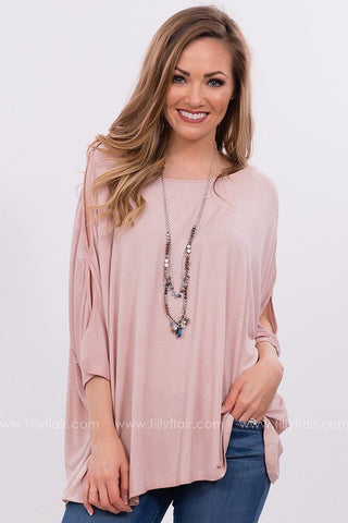 Early to Rise Lace Cut Out Top in Dusty Pink
