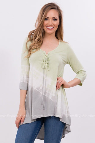 I'm Yours Tie Dye Lace Up Top in Lime